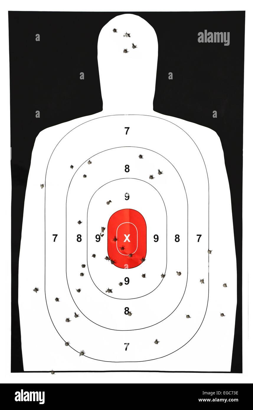 Practice target from a gun range - Stock Image