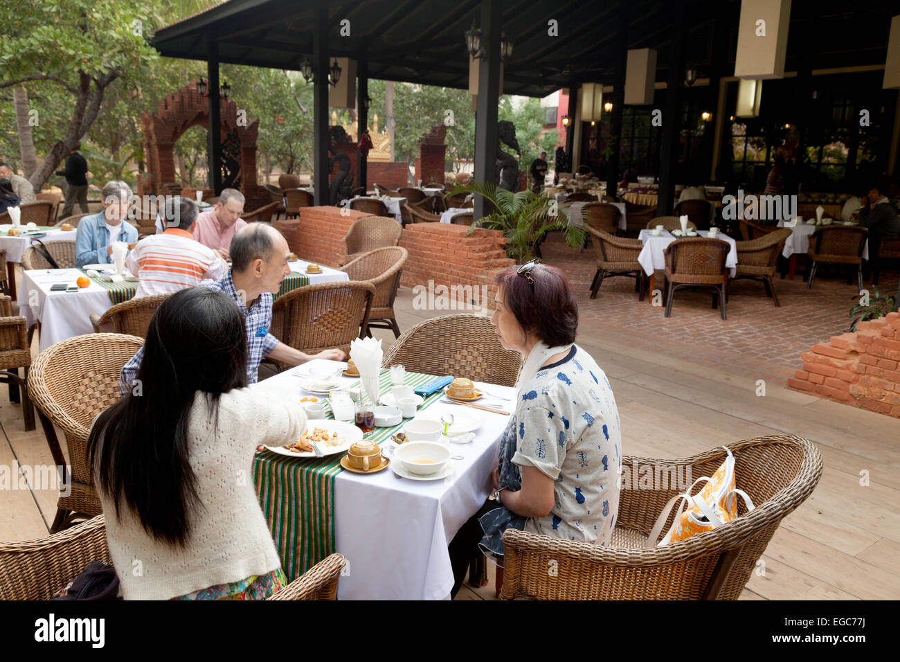 Hotel guests having breakfast; The Amazing Bagan Resort Hotel, Bagan, Myanmar ( burma ), Asia - Stock Image