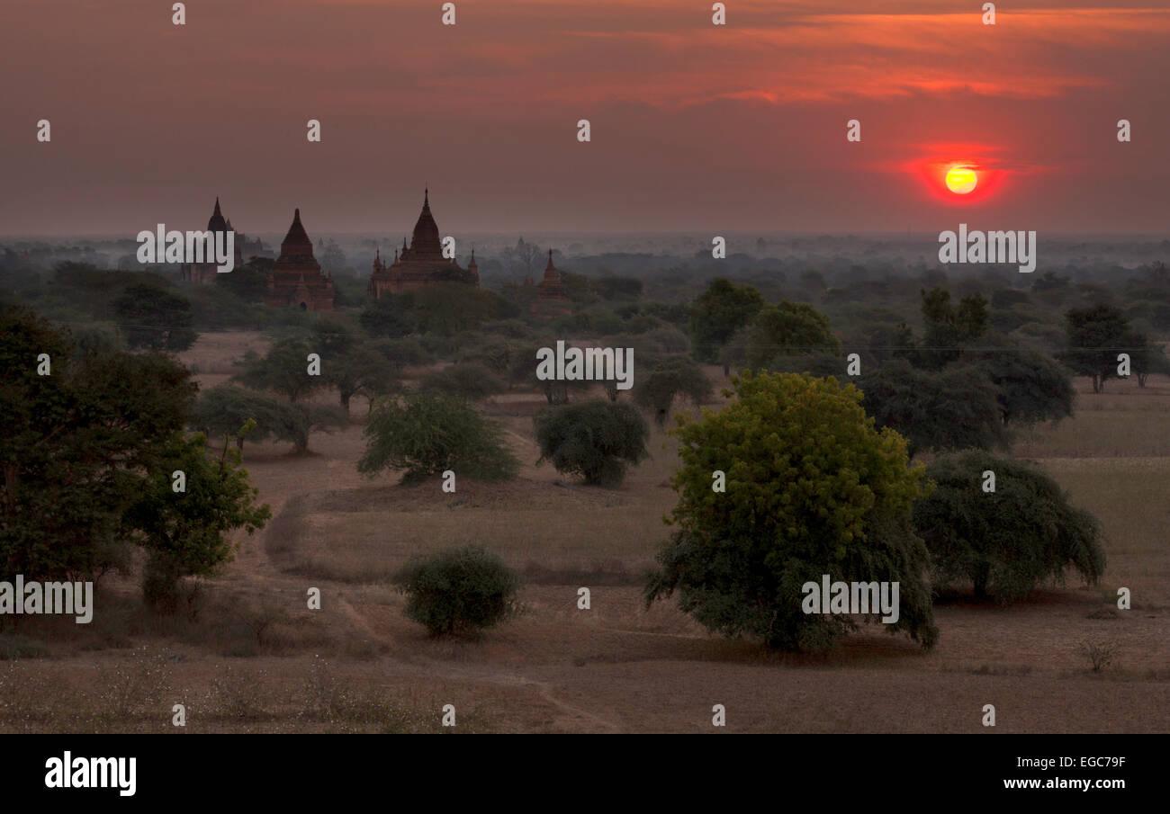 Sunset over the Bagan plain, Bagan, Myanmar,  ( Burma )  Asia Stock Photo