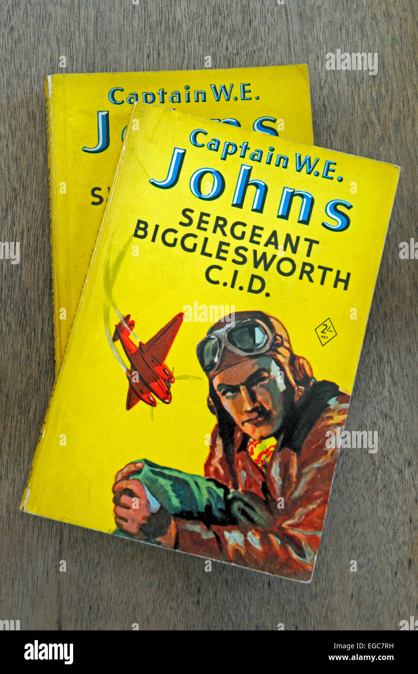 Two Biggles paperback books by Captin W E Johns including Sergeant Bigglesworth CID. Published 1954. For Editorial - Stock Image