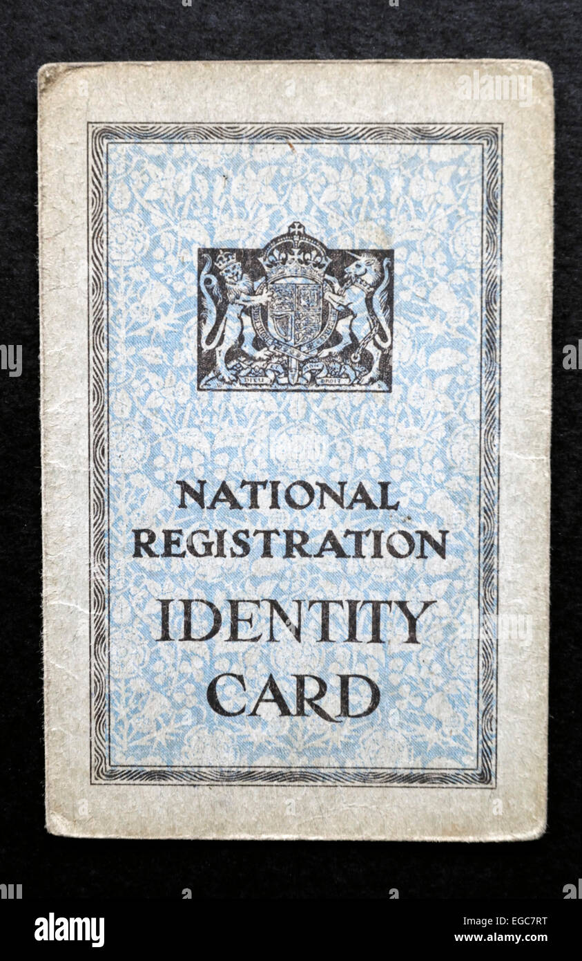 British National Registration Identity Card ID from the Second World War WW2. For Editorial use only. - Stock Image
