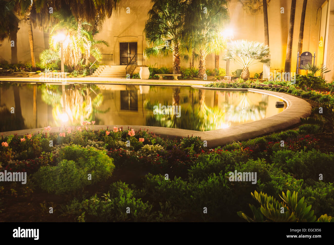 Garden And The Lily Pond At Night, At Balboa Park, In San Diego,