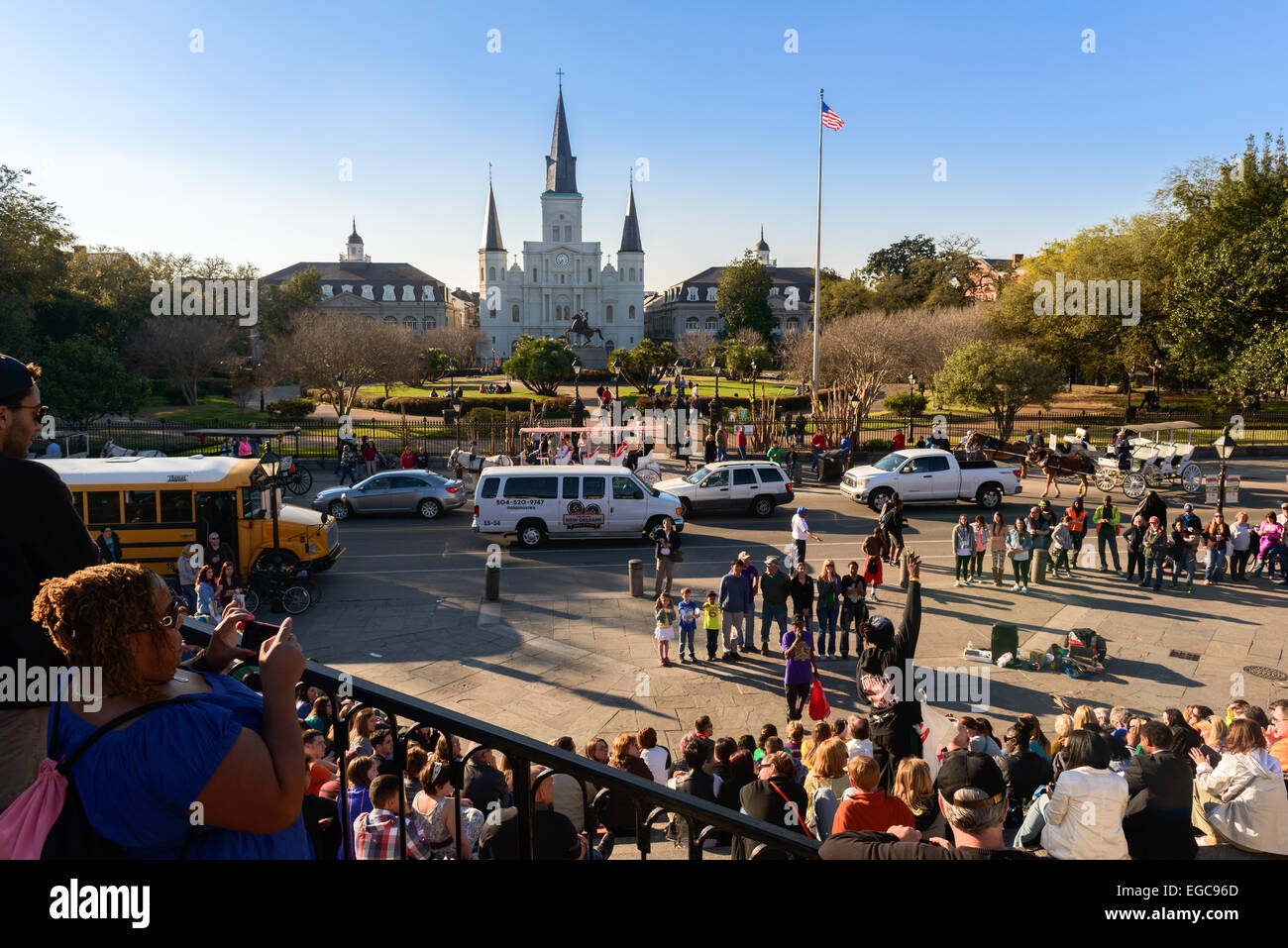 Street performance gathers a crowd of tourists in the French Quarter of New Orleans. Stock Photo