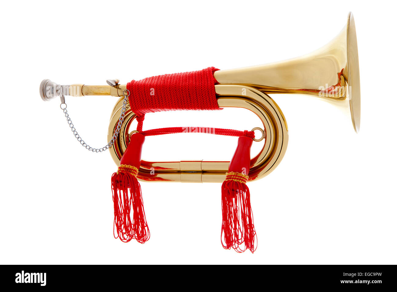 Golden horn with red rope over white background - Stock Image