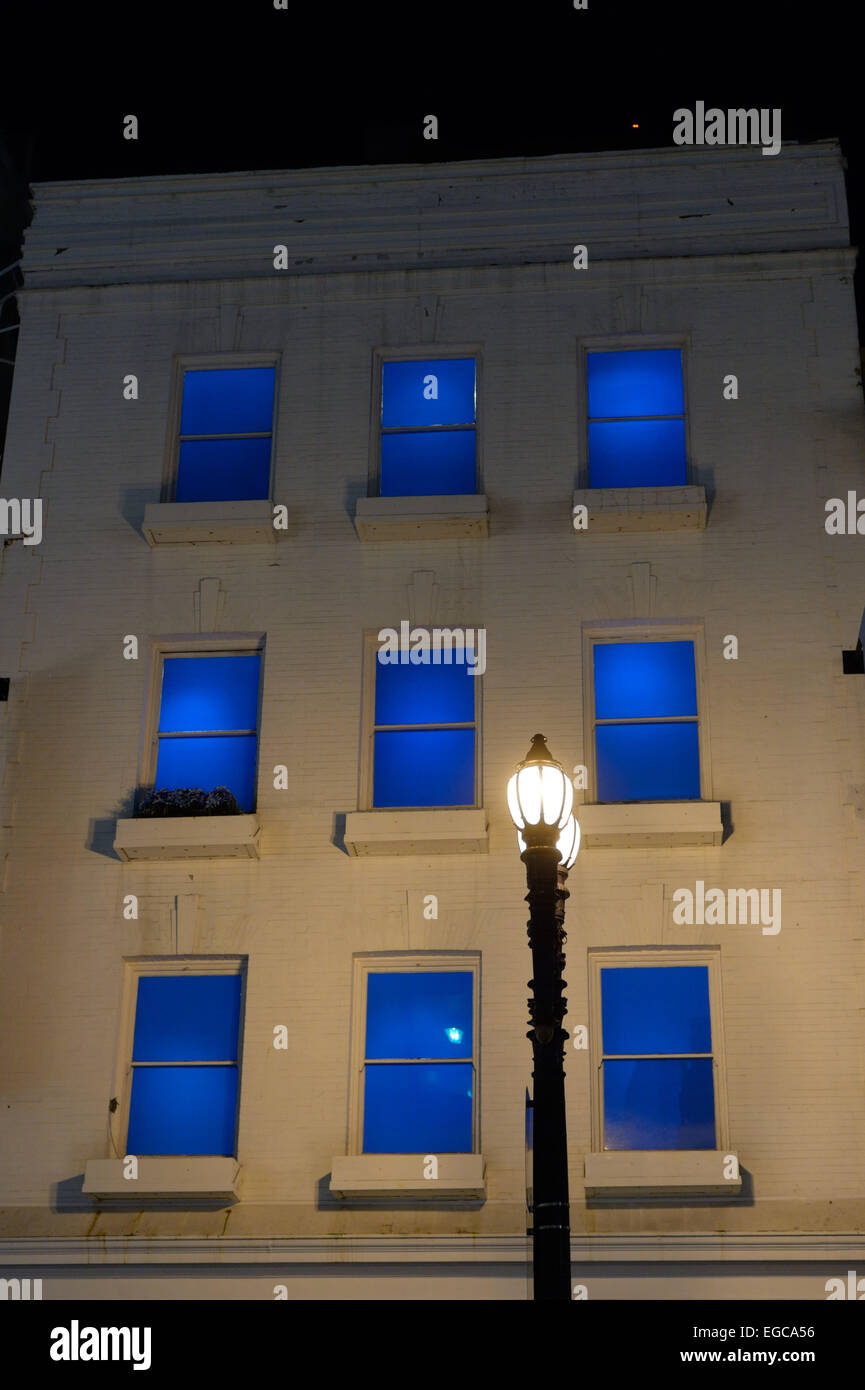 Lantern and Blue Windows, San Francisco CA - Stock Image
