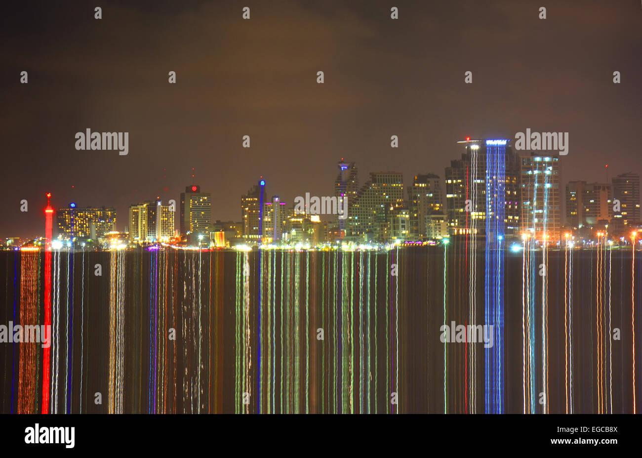 Tel Aviv skyline at night, Light effect, Israel - Stock Image