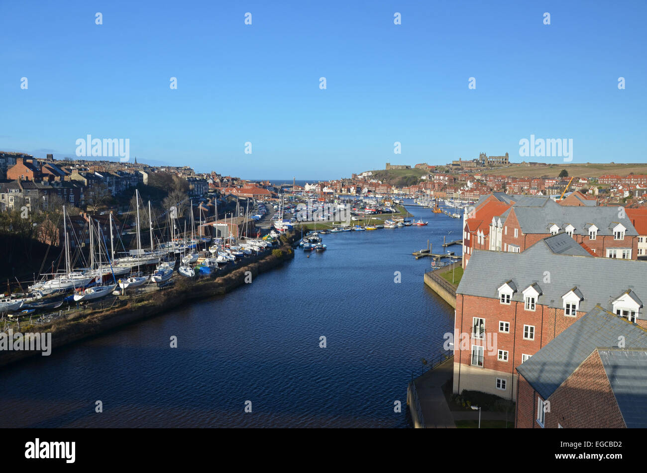 Whitby and the River Esk - Stock Image