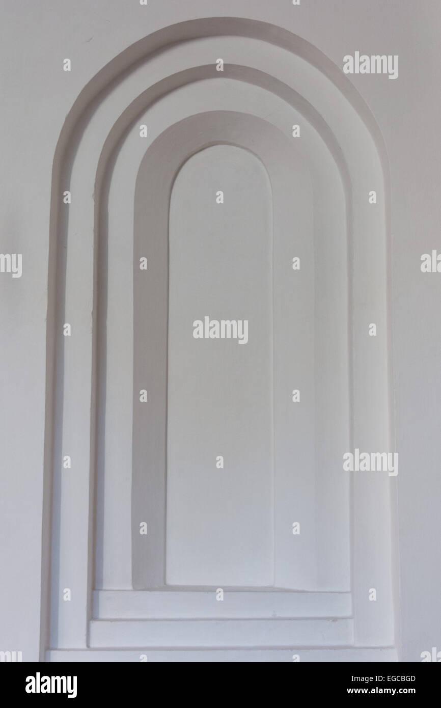 White stone window background made of stone - Stock Image