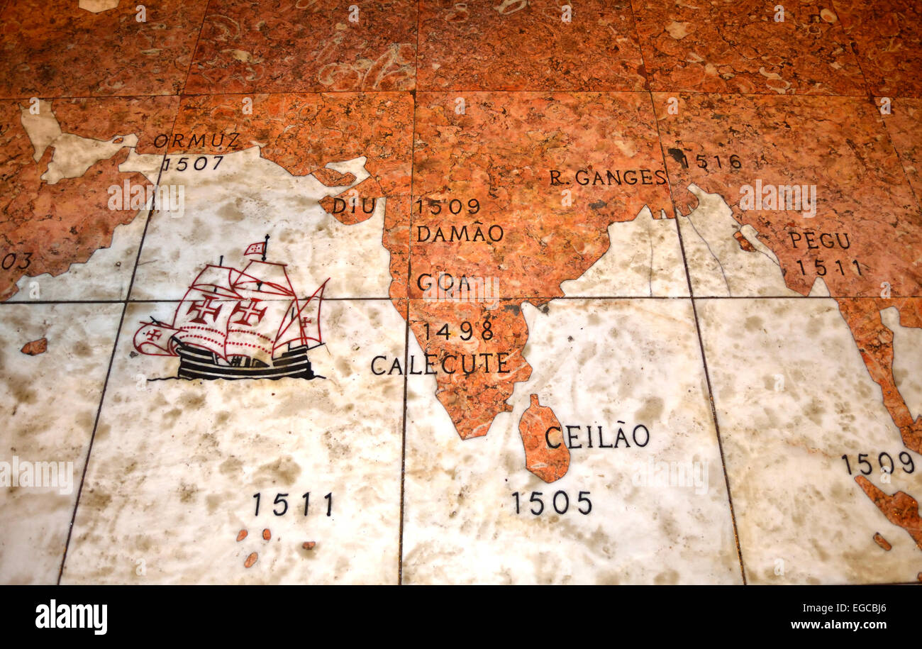 Navigation Route of Vasco Da Gama to India - Stock Image