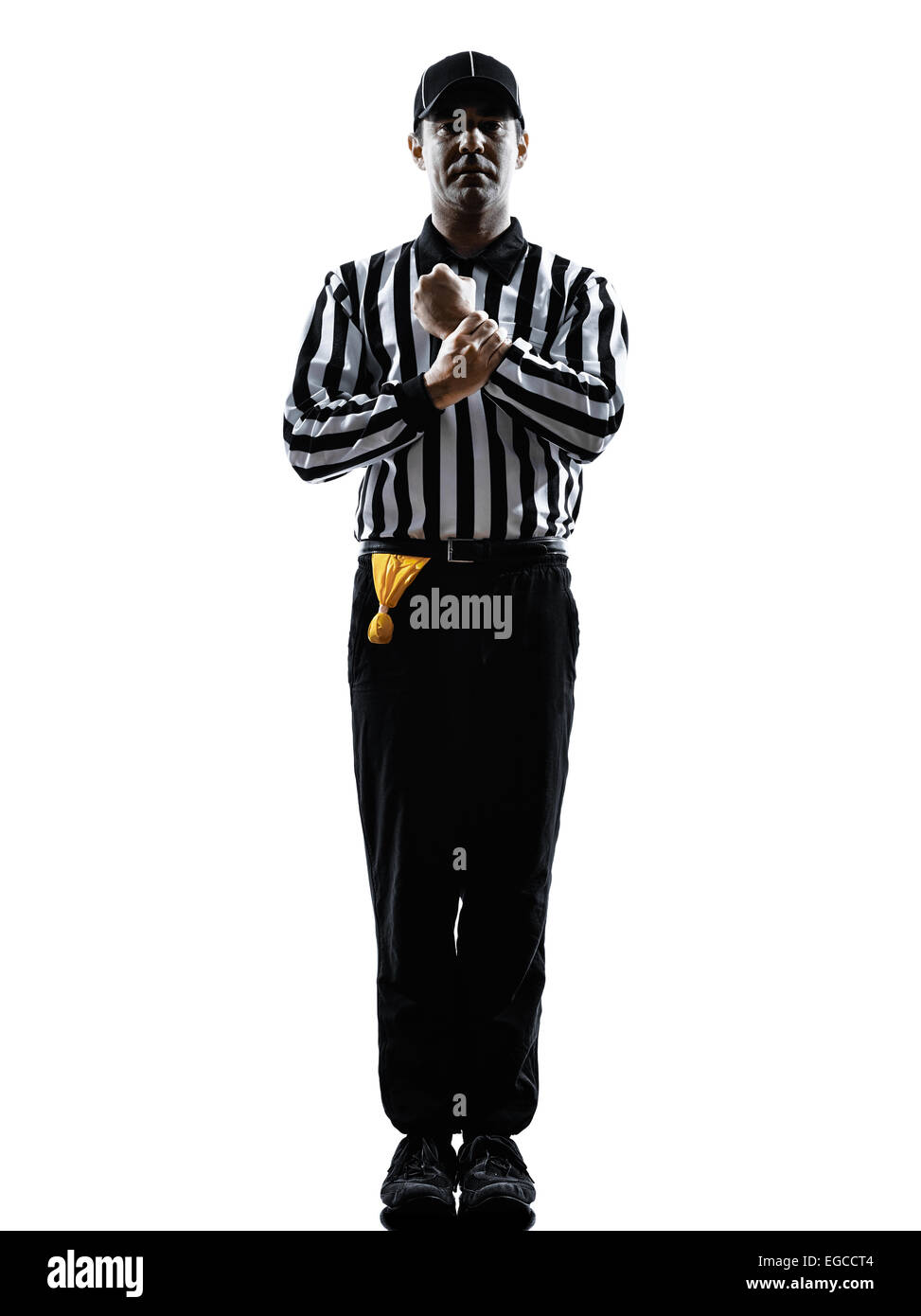 american football referee gestures holding in silhouette on white background - Stock Image