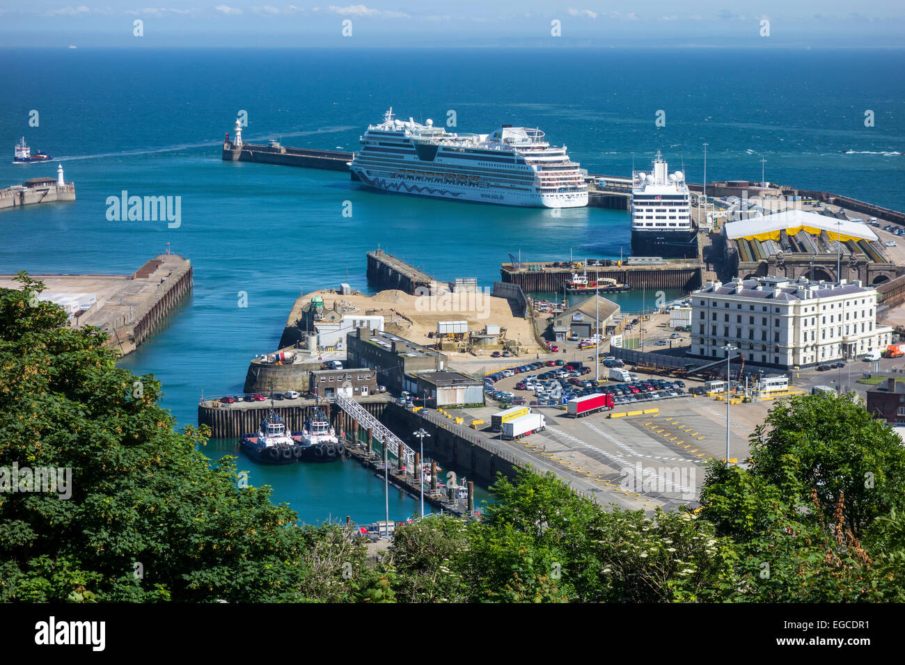 Dover Cruise Ship Terminal  Western Docks Aida and Valletta in Port - Stock Image