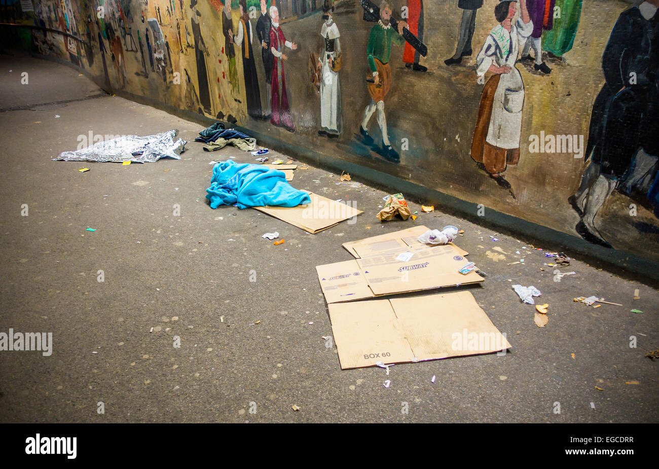 Rubbish left behind by Rough Sleepers and Beggars in Canterbury Subway - Stock Image