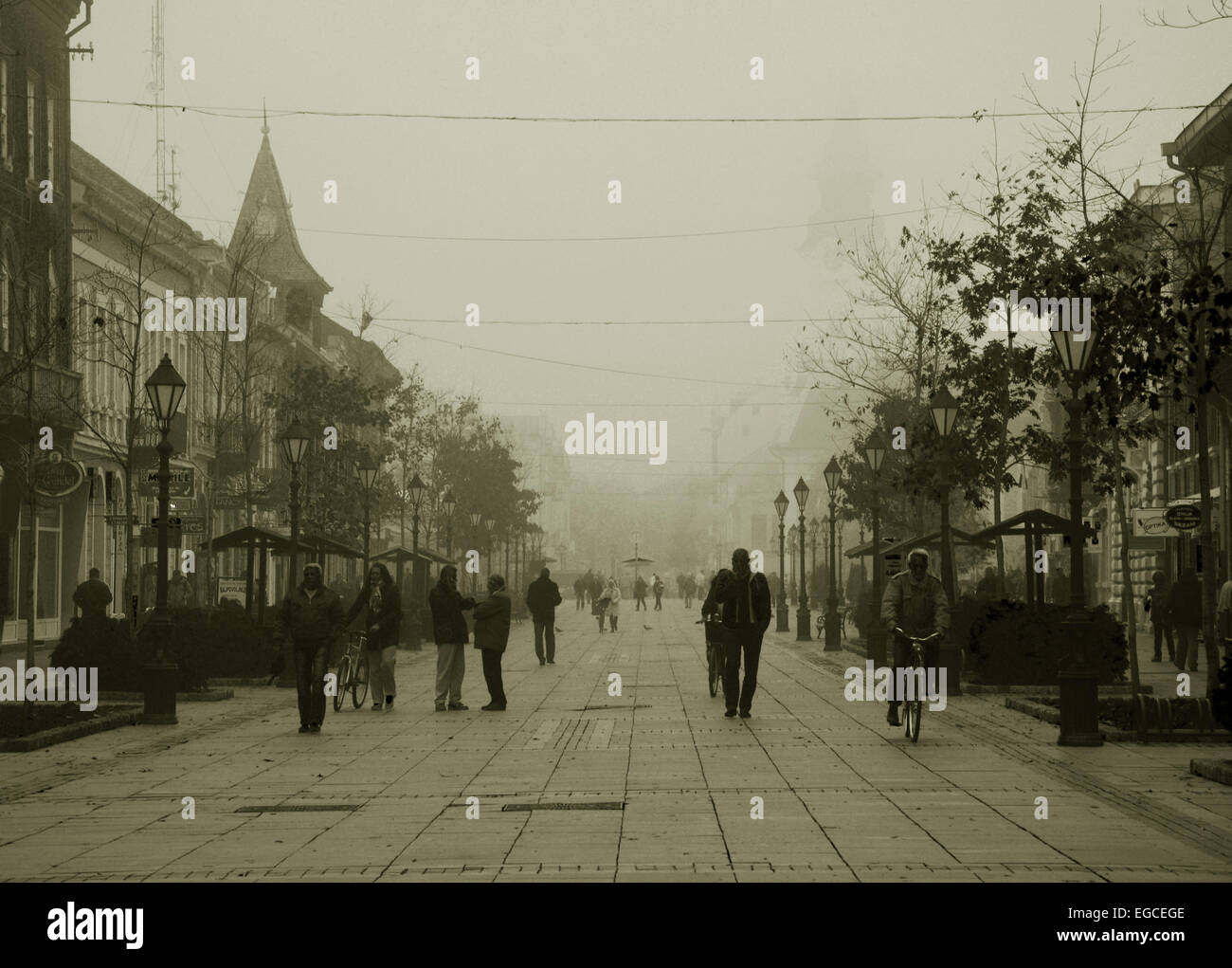 City centre in fog in sepia effect - Stock Image