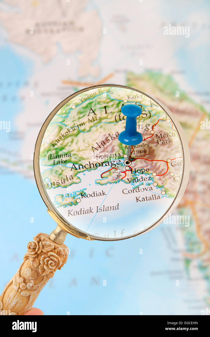 Blue Tack On Map Alaska With Magnifying Glass Looking In On It S