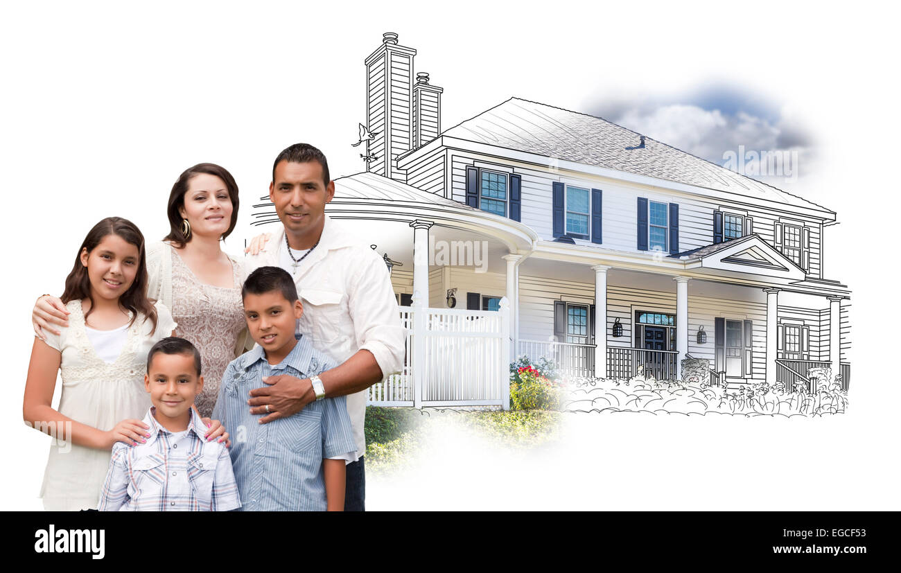 Young Hispanic Family Over House Drawing and Photo Combination on White. - Stock Image