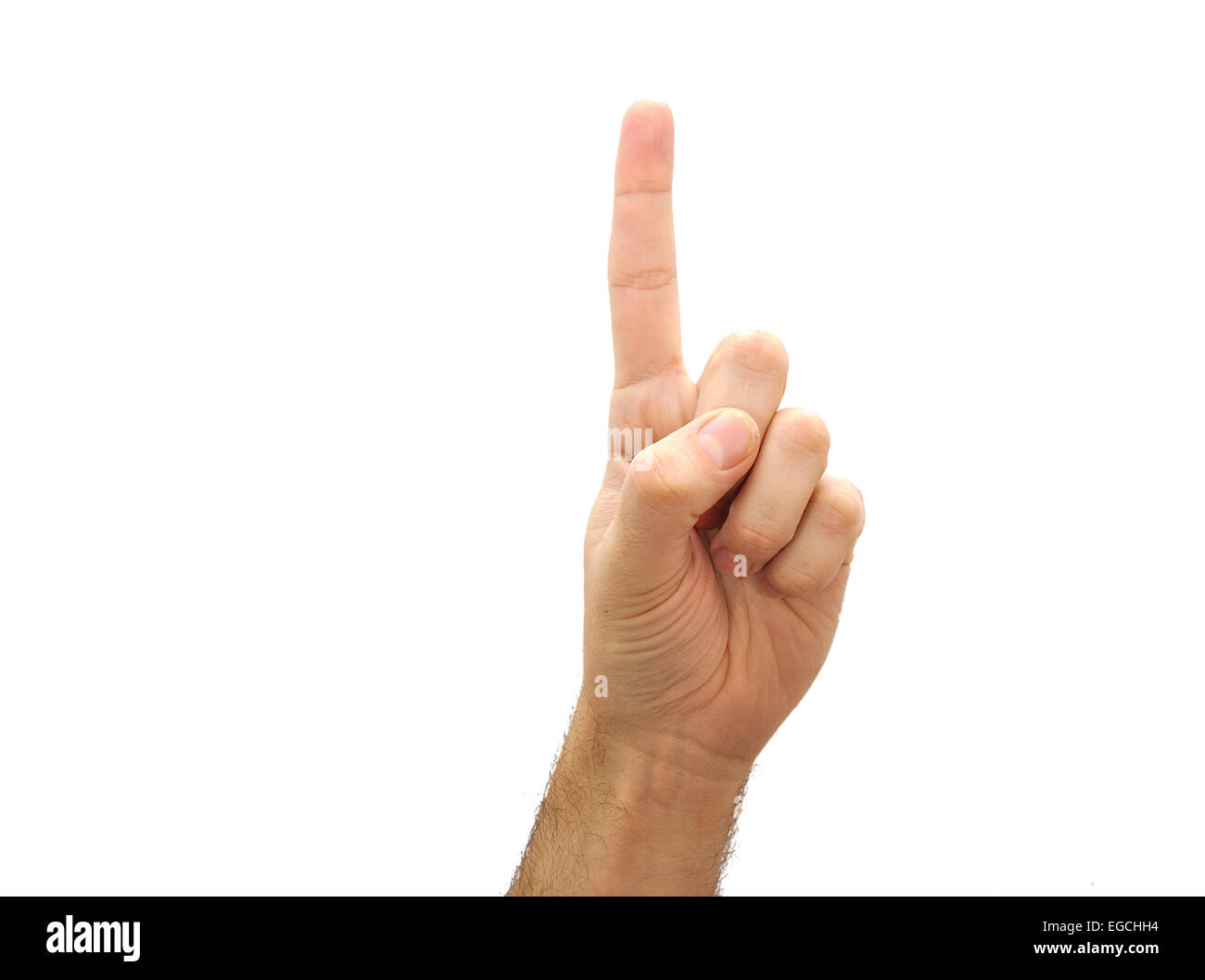 Caucasian man hand pointing upwards. Number one gesture isolated on white background - Stock Image