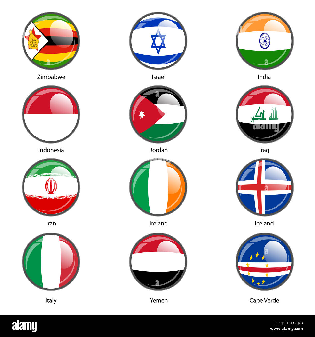 Set circle icon  Flags of world sovereign states. Vector illustr - Stock Image