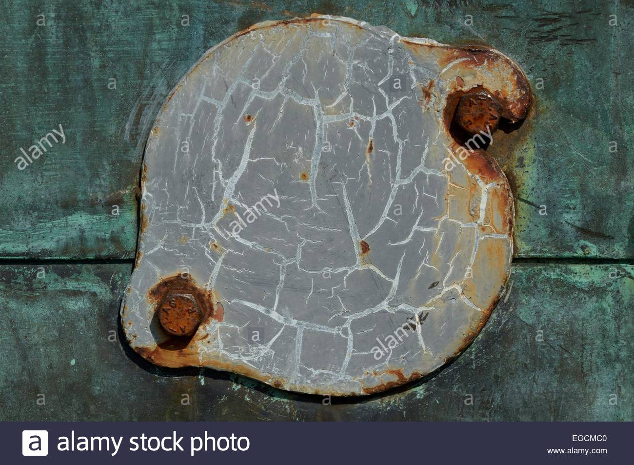 Close-up of  a movable metal plate on the Old Bridge, Poole, Dorset, England - Stock Image