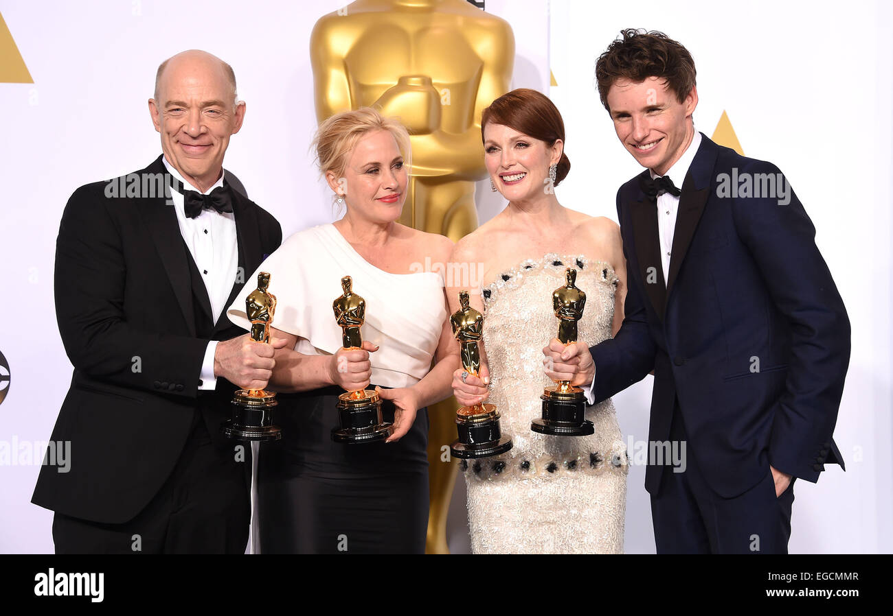 Hollywood, California, USA. 22nd Feb, 2015. J.K. Simmons, Patricia Arquette, Julianne Moore & Eddie Redmayne in the press room at the Oscars 2015 at the Dolby theater. Credit:  Lisa O'Connor/ZUMA Wire/Alamy Live News Stock Photo