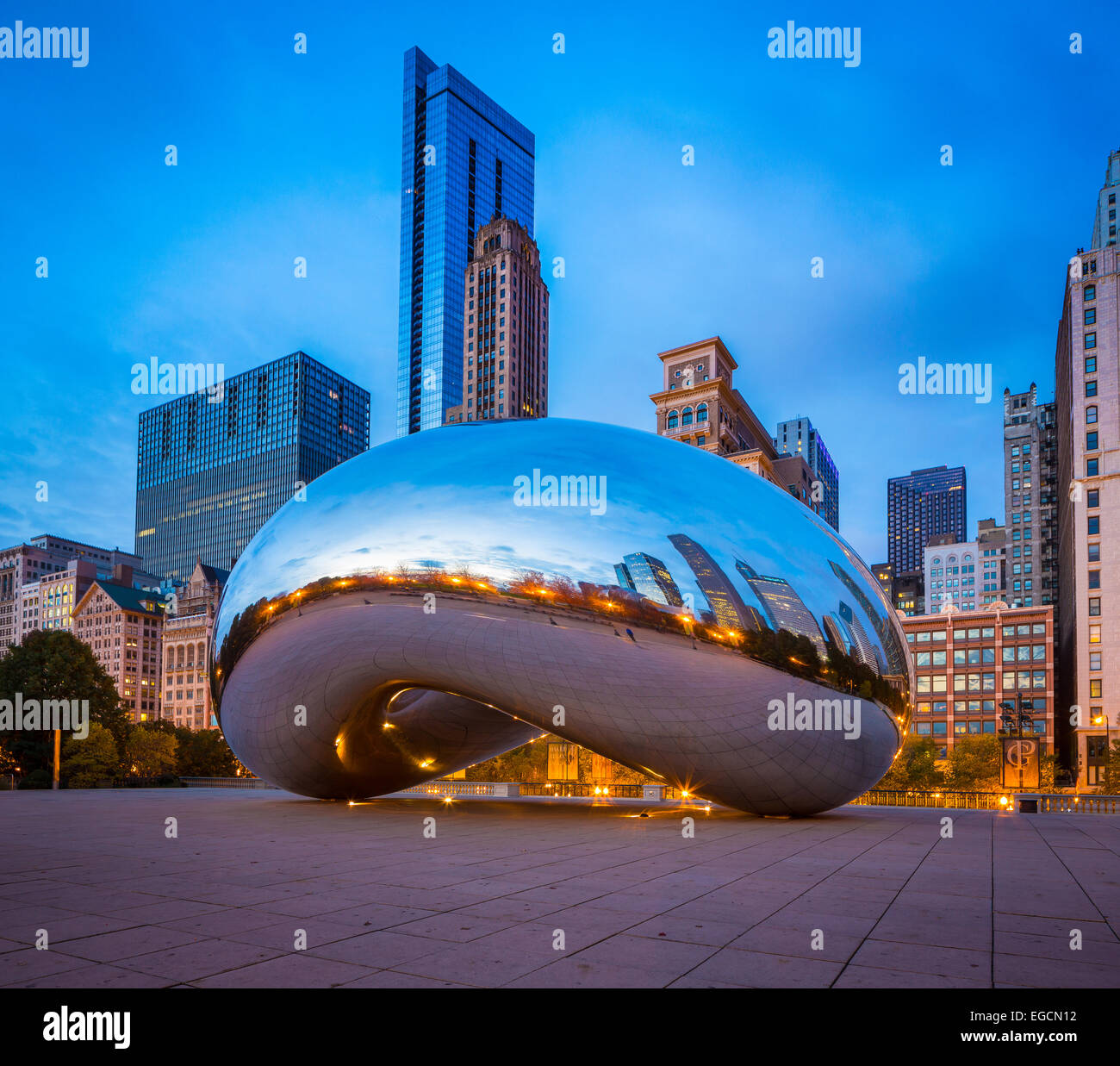 Cloud Gate is a public sculpture in AT&T Plaza at Millennium Park in the Loop community area of Chicago, Illinois - Stock Image