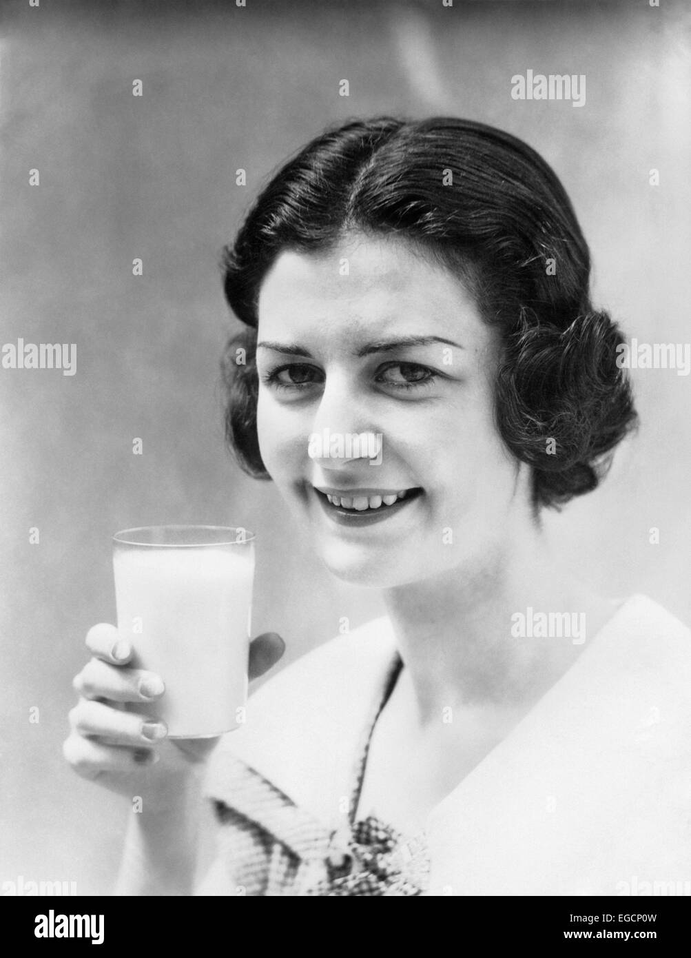 Vintage Woman Drinking Black And White Stock Photos