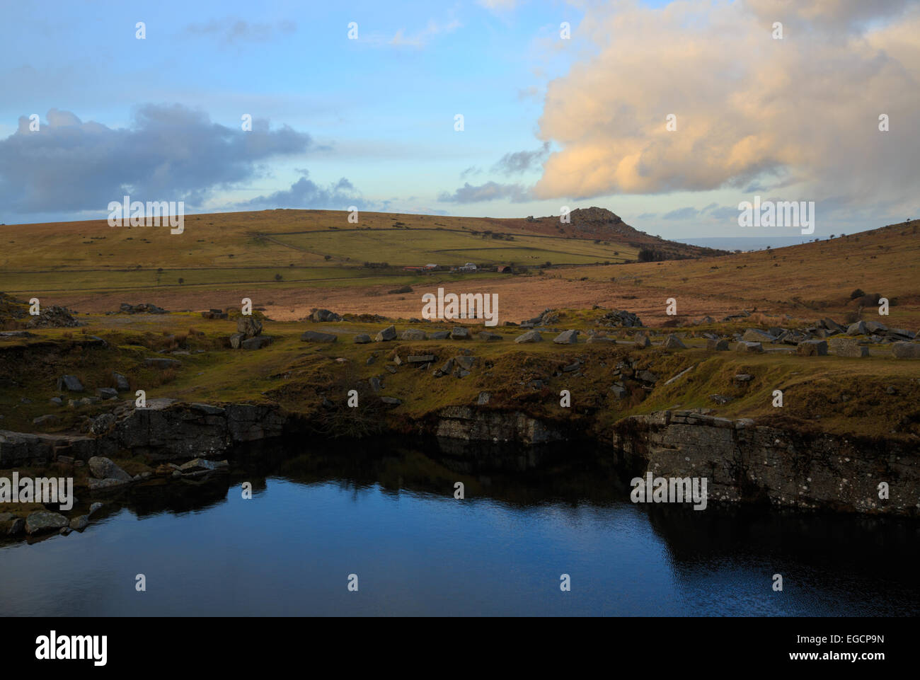 The Flooded Gold Diggings quarry on Bodmin Moor - Stock Image