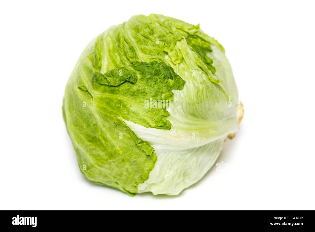 Salad iceberg. Iceberg Lettuce isolated on white - Stock Image