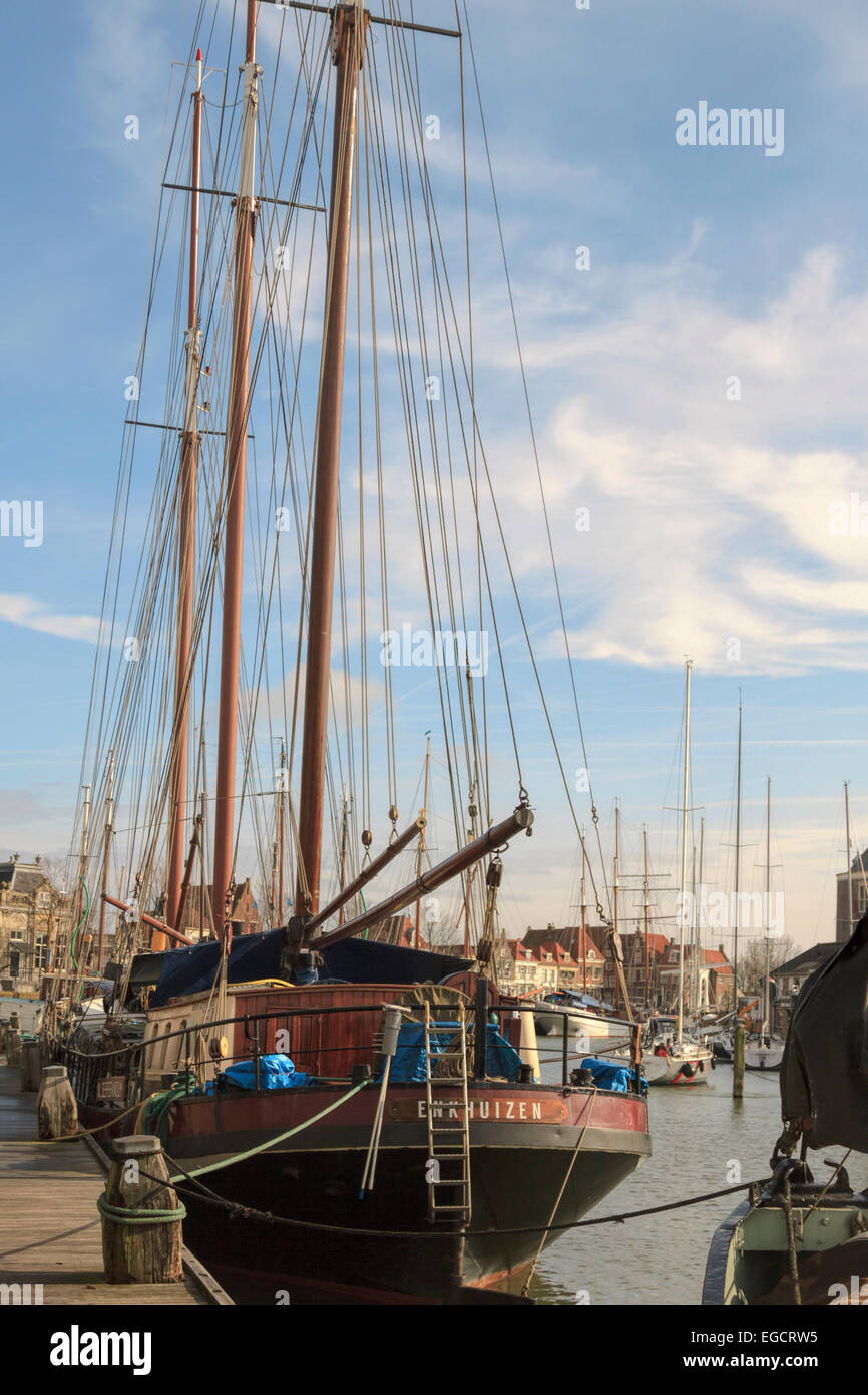 Maritime mood in the port of Enkhuizen, a historic town, situated on the IJsselmeer, North Holland, The Netherlands. Stock Photo