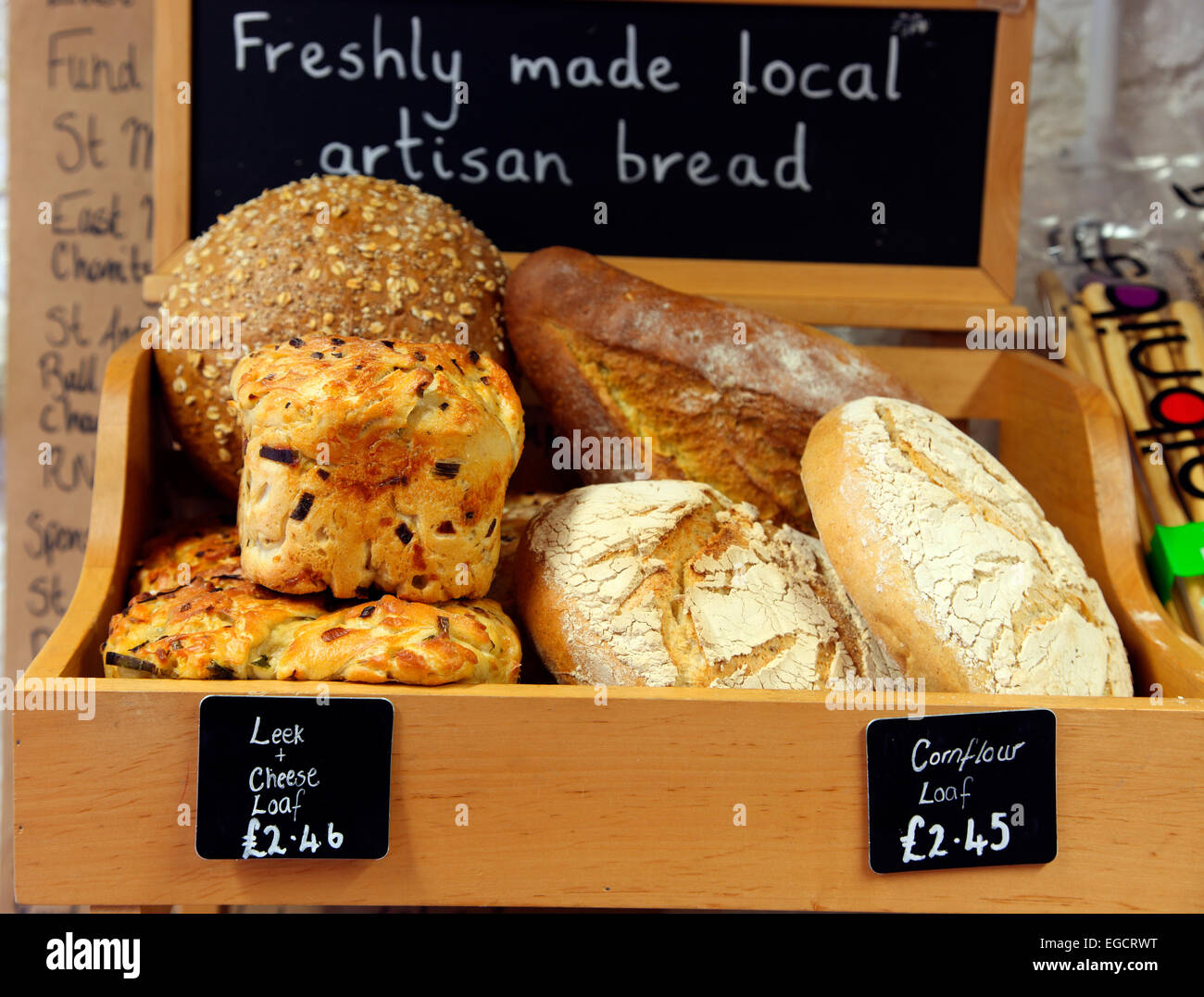 Artisan bread on sale at the Ardross Farm Shop - Stock Image