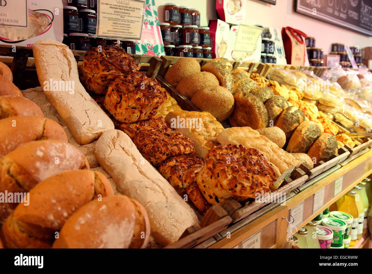 Artisan bread on sale at Balgove Larder - Stock Image
