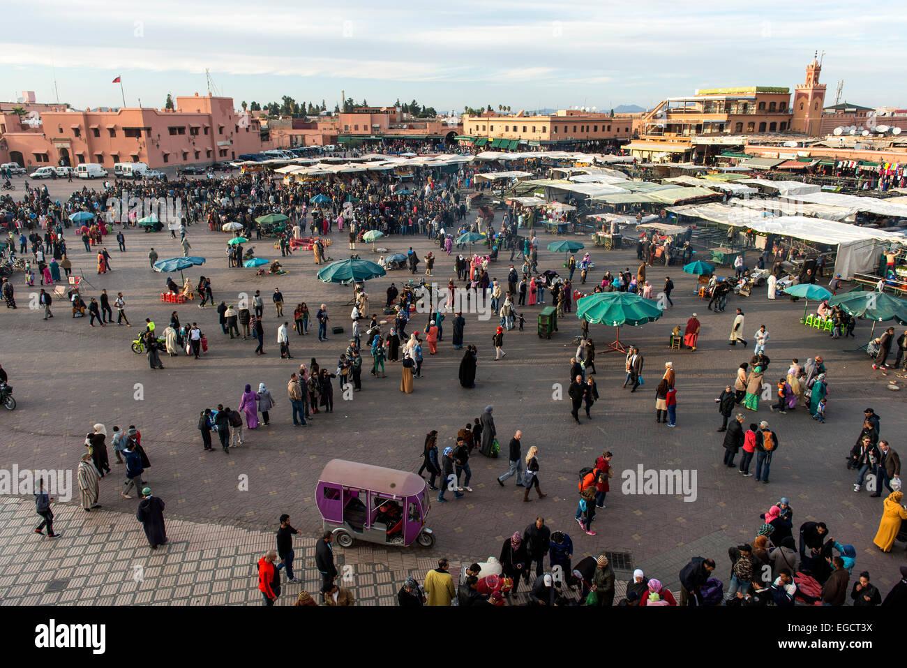 Djemaa el Fna or Jamaa el Fna square, Marrakech, Morocco Stock Photo