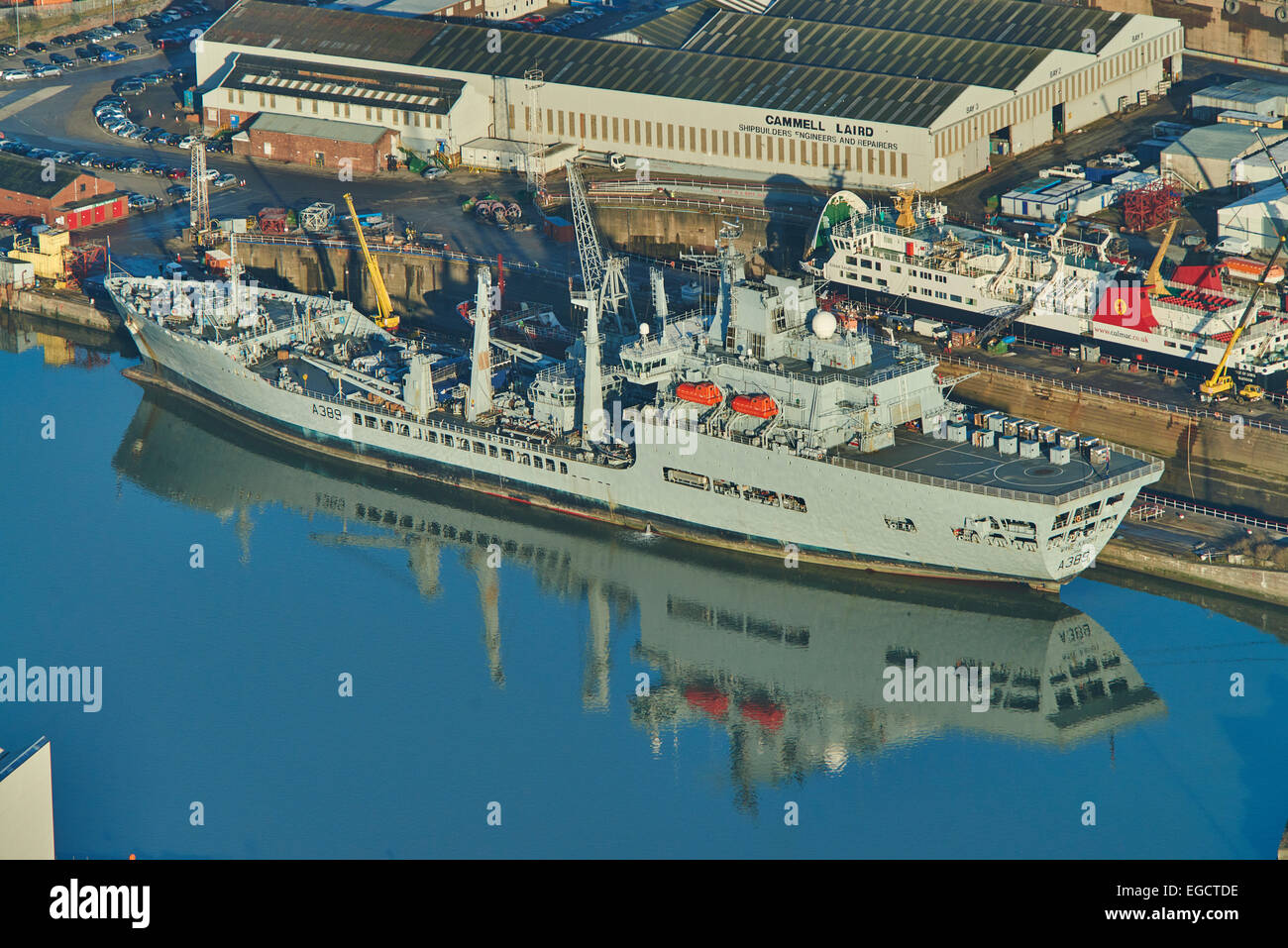 An aerial view of RFA Wave Knight, a fleet tanker of the Royal Fleet Auxiliary, in dock at Birkenhead - Stock Image