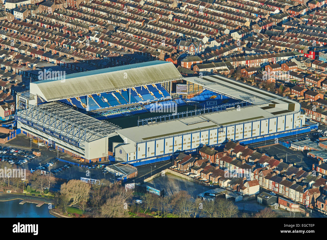 An aerial view of Goodison Park and surrounding housing Stock Photo