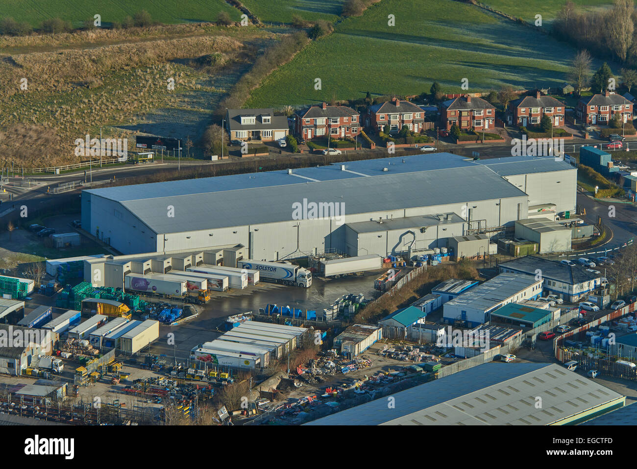 Aerial photograph of warehouse on Astley Industrial Estate, Chaddock Lane, Astley. - Stock Image