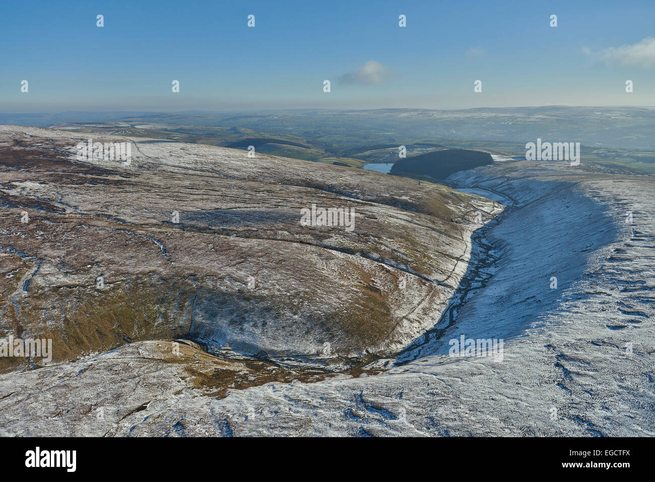 Aerial photograph of Ogden Clough, Ogden Reservoirs and Fell Wood. - Stock Image