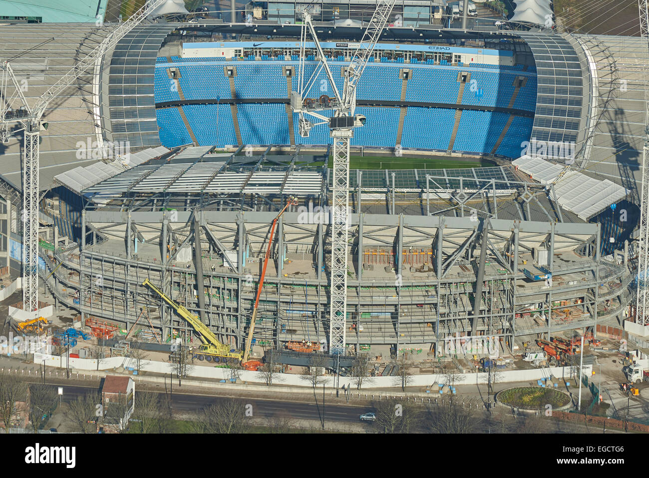 Aerial photograph of the Etihad Stadium, Manchester City Football Club - Stock Image