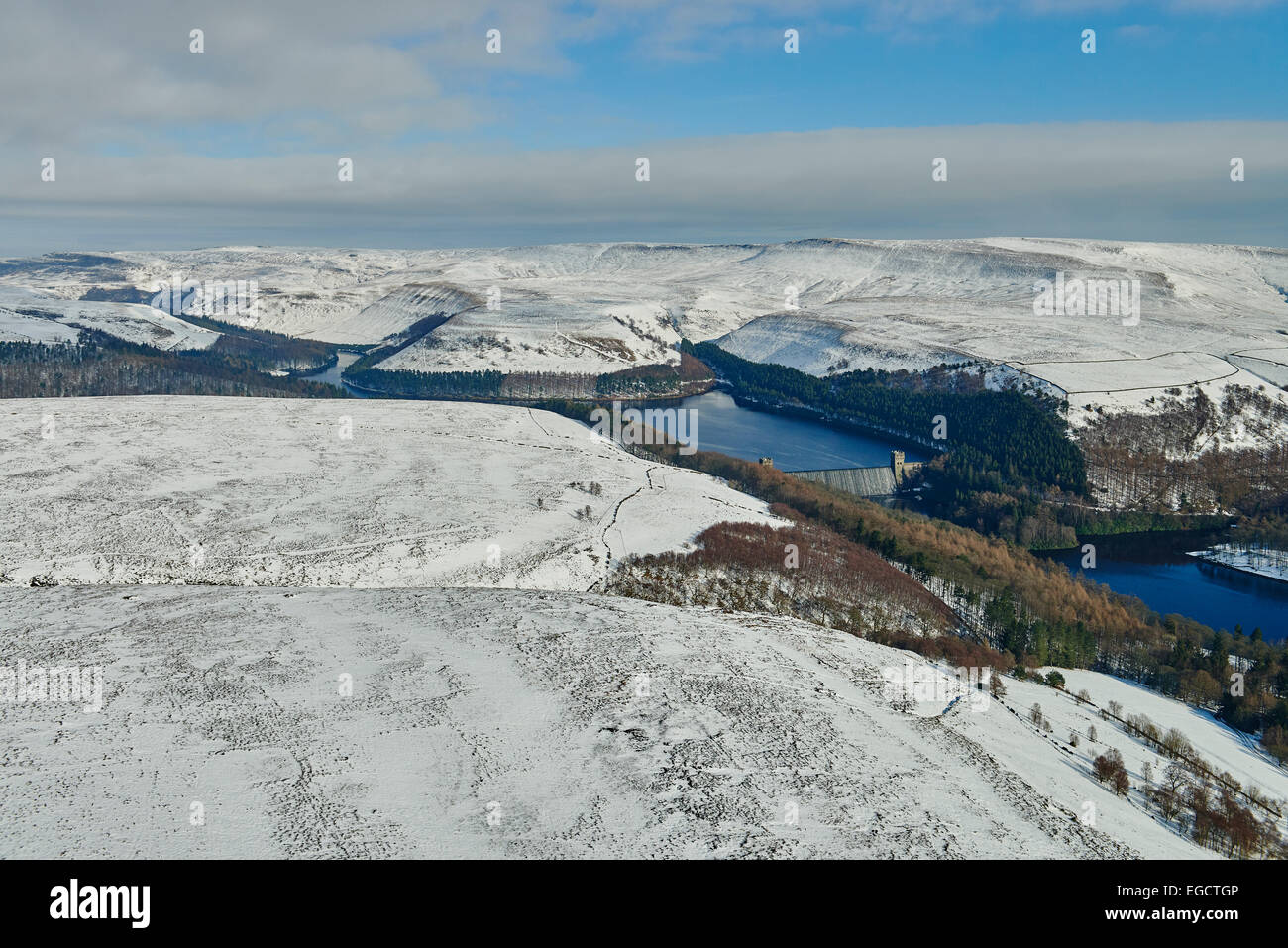 Aerial photograph of Howden and Upper Derwent reservoirs. - Stock Image