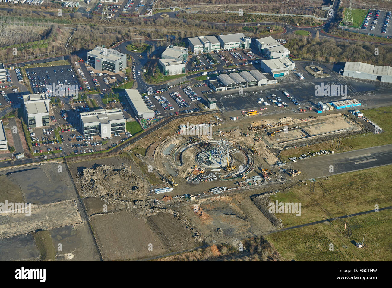 Aerial photograph of runway redevelopment at Tinsley, Sheffield - Stock Image