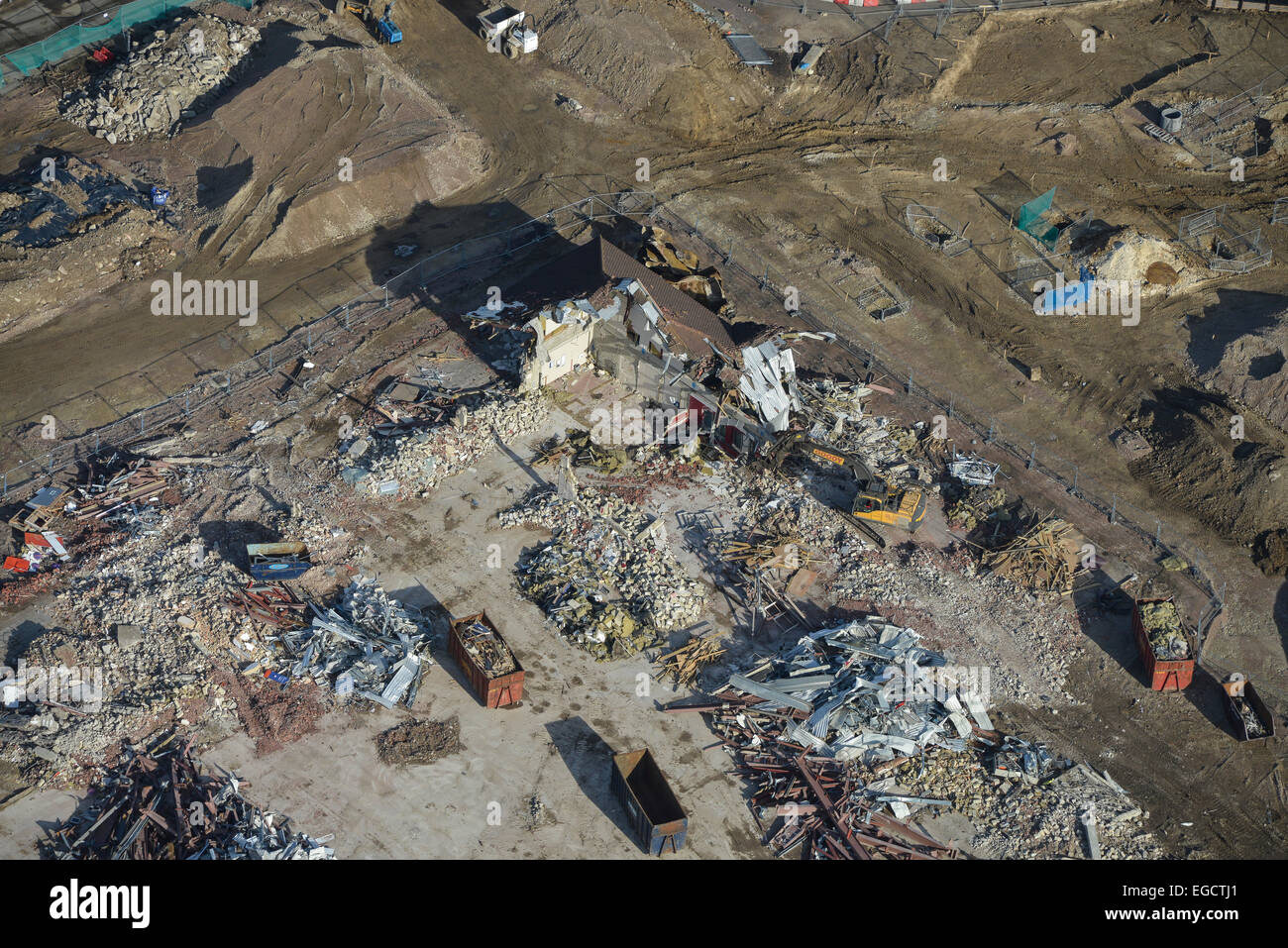 Aerial photograph of a demolition area on a building site in Westwood, St Peter's, Kent - Stock Image
