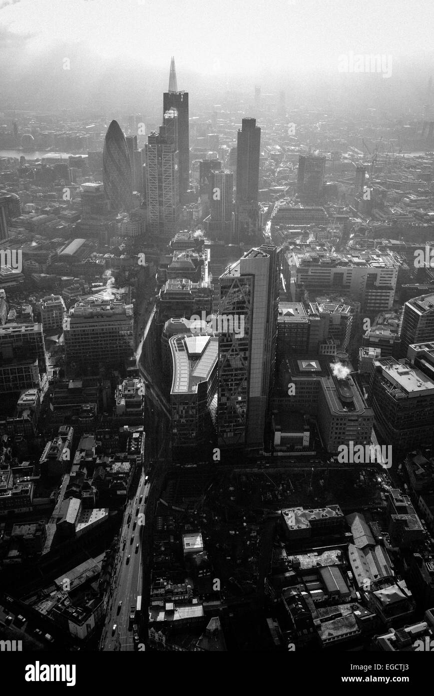 Aerial photograph of the Central London skyline showing the Gherkin and the Shard - Stock Image
