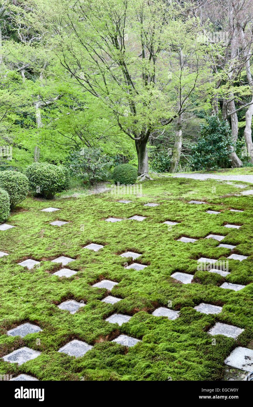 Kyoto, Japan. The chequerboard north garden of Tofuku-ji Hojo by Shigemori Mirei (1939) - Stock Image