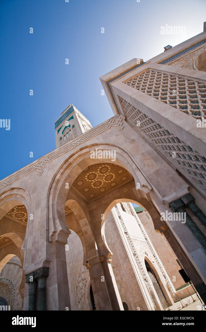 View of Hassan II mosque in Casablanca, Morocco - Stock Image