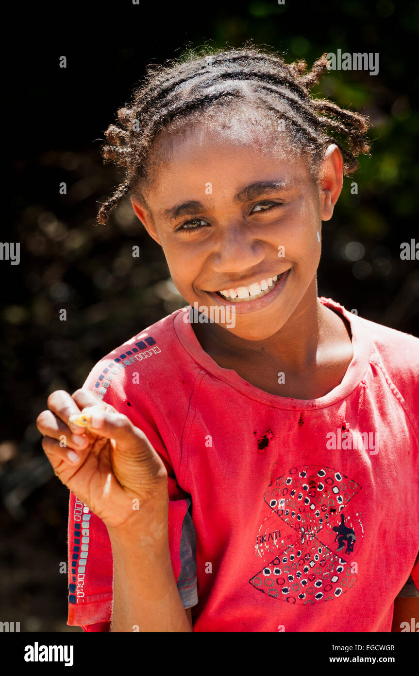 Happy young South Pacific Islander girl - Stock Image