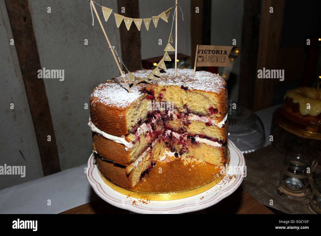 Tasty cake on a tray at a wedding reception at Southend Barns in Chichester, West Sussex, UK. - Stock Image