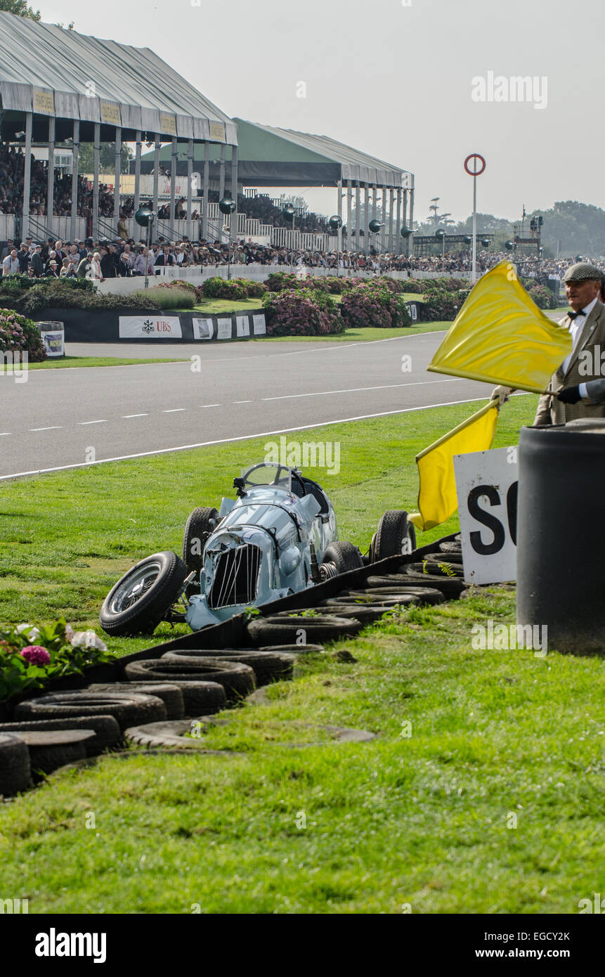 The unique Reg Parnell MG K3 1.1 litre supercharged 6 cylinder, built in 1936, having crashed at Goodwood with an Stock Photo
