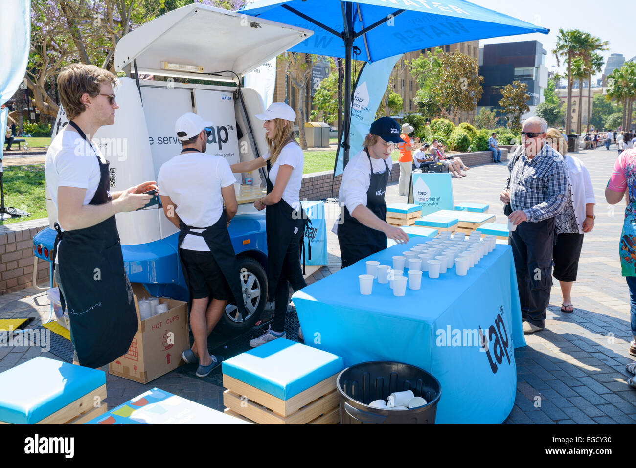 Tap water - 'eco water', being given away for free to the public - Stock Image