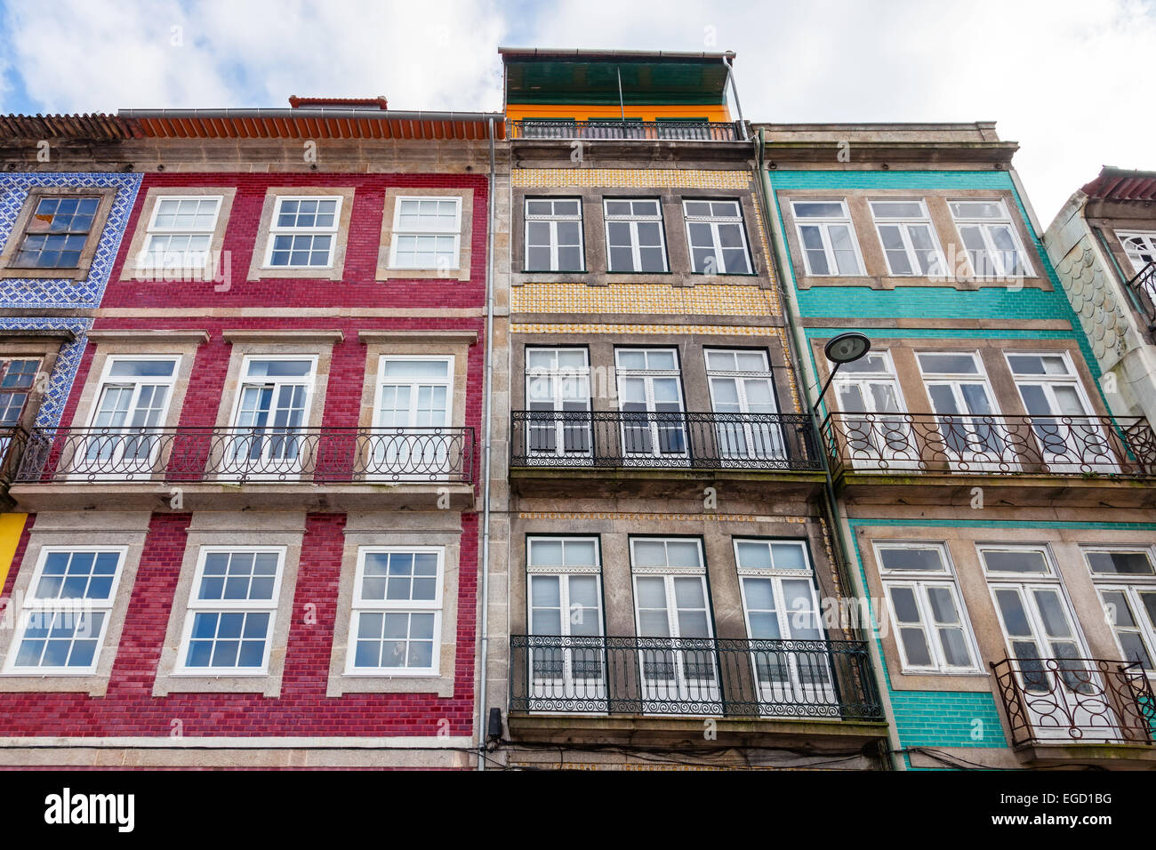 The typical old colorful buildings of the city of Porto in Portugal. Unesco World Heritage Site. - Stock Image