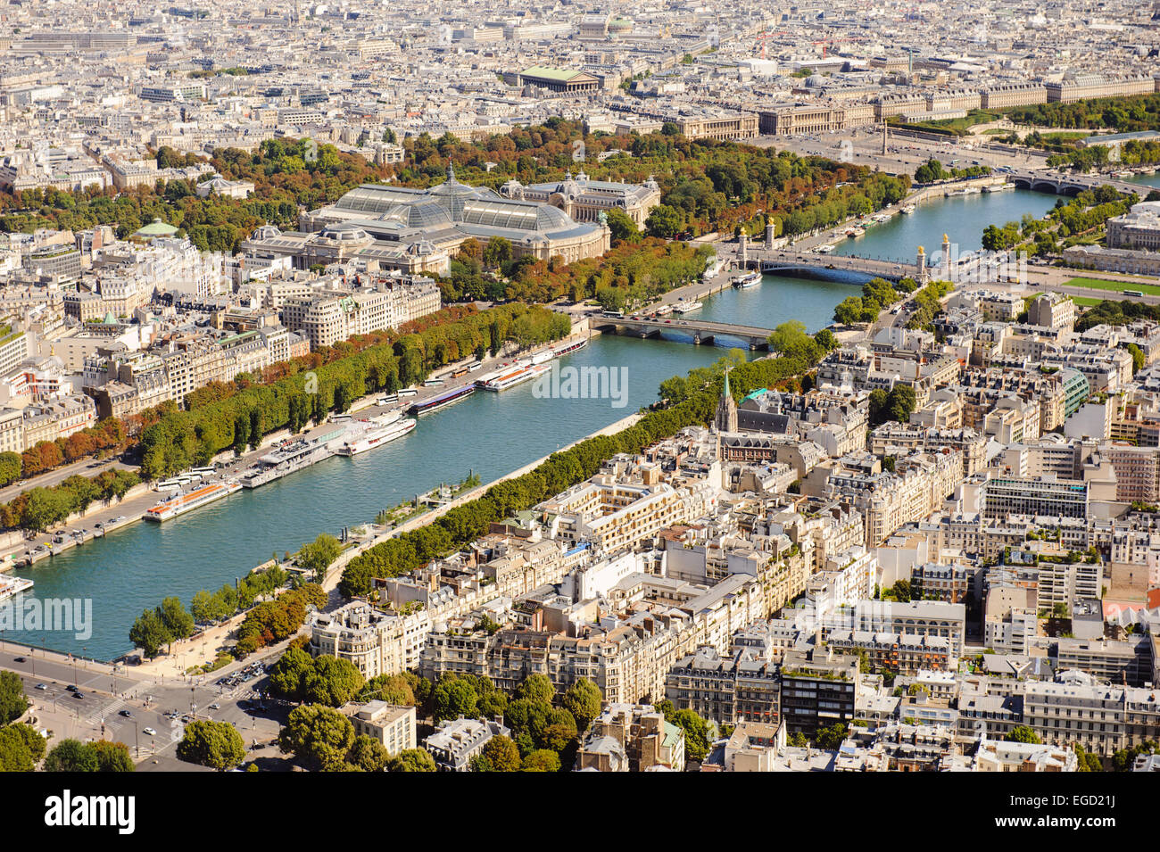 Aerial view of Paris from Eiffel Tower. France Stock Photo