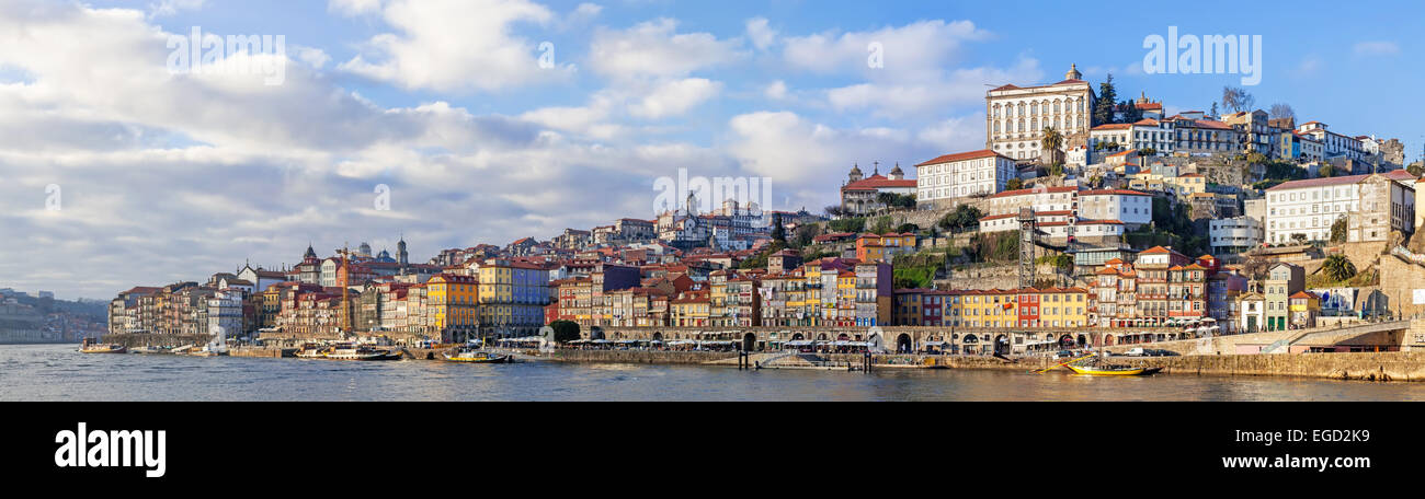 Panorama of the Ribeira District of the city of Porto, Portugal, and the Douro River seen from the city of Vila - Stock Image