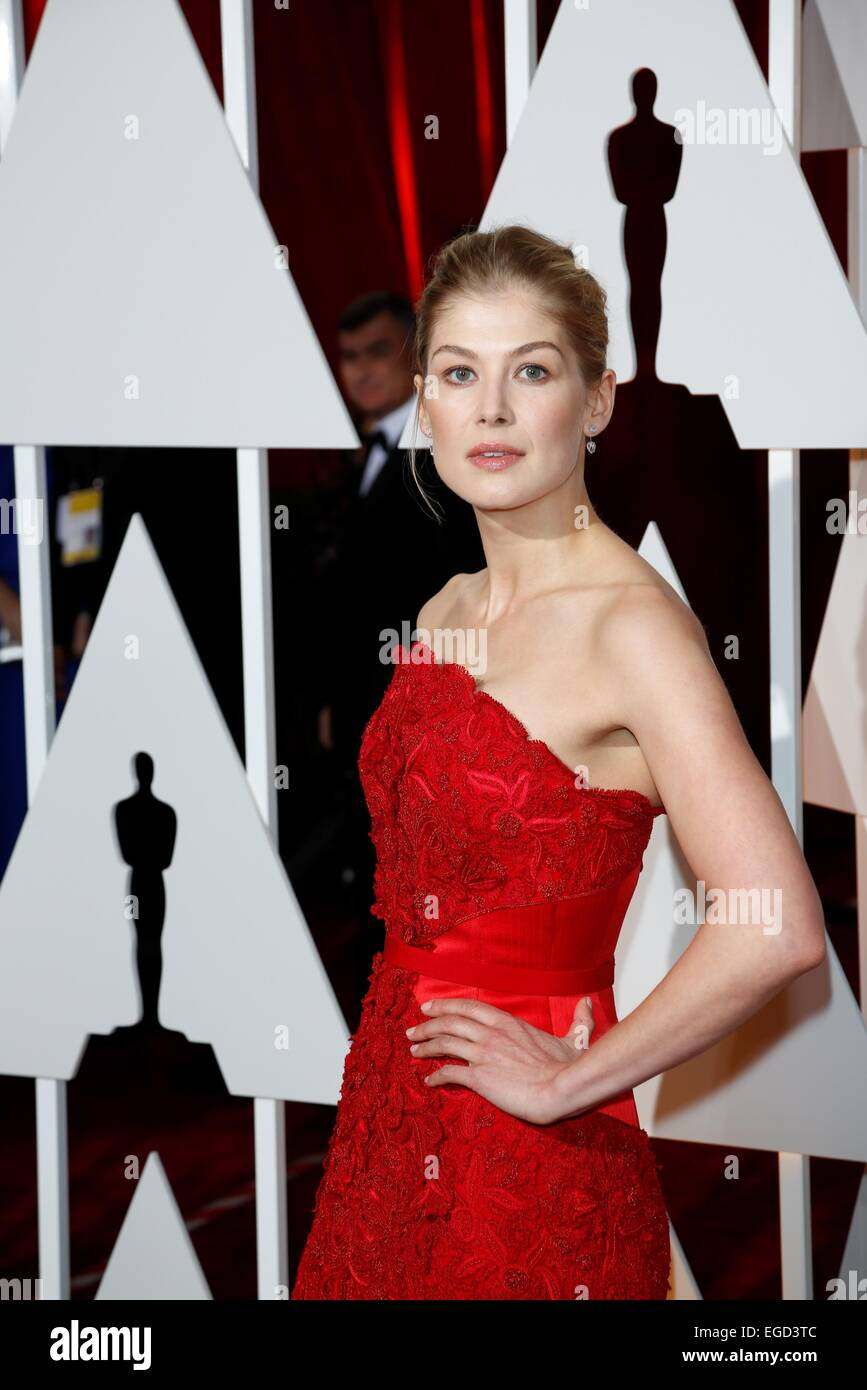 Actress Rosamund Pike attends the 87th Academy Awards, Oscars, at Dolby Theatre in Los Angeles, USA, on 22 February - Stock Image